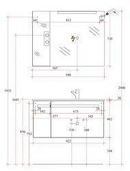 Pelipal Delta Комплект подвесной мебели 950 R правая черный матовый